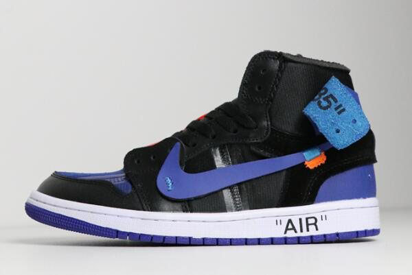 Off-White x Air Jordan 1 Black/Royal Blue-White AA3834-002 For Sale