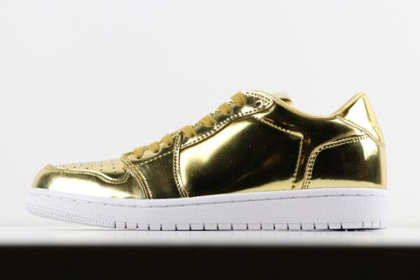 Air Jordan 1 Retro Low No Swoosh OG Pinnacle Metallic Gold For Sale