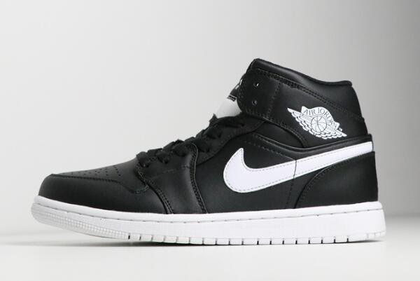 New Air Jordan 1 Mid Black/White-White 554724-038 For Sale