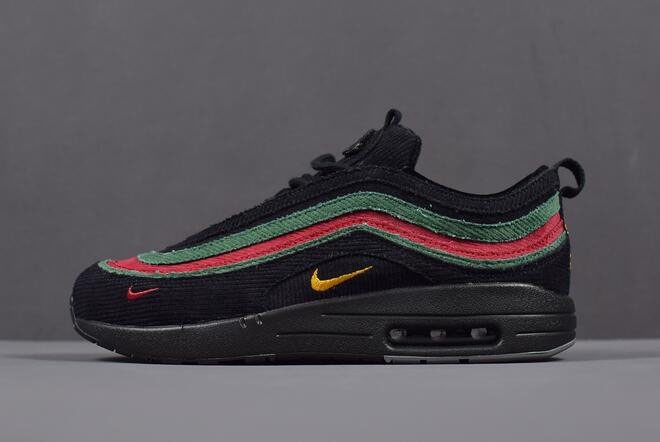 Mens and WMNS Nike Air Max 1/97 VF SW Black Green Red AJ4219-036