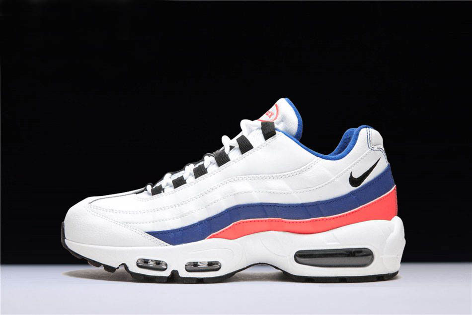 Mens and WMNS Nike Air Max 95 White/Black-Solar Red-Ultramarine 749766-106