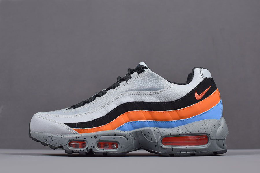 Nike Air Max 95 Premium Wolf Grey/Safety Orange Men's Size 538416-015