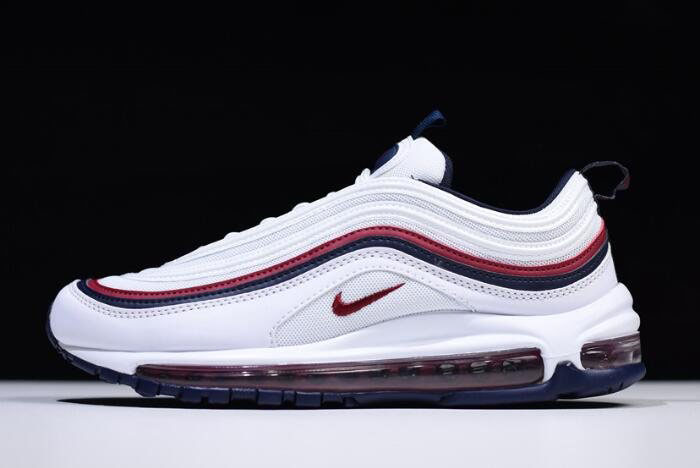 Nike Air Max 97 White/Red Crush-Blackened Blue 921733-102 Free Shipping