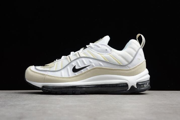 Mens and WMNS Nike Air Max 98 Sail White/Black-Fossil-Reflect Silver AH6799-102