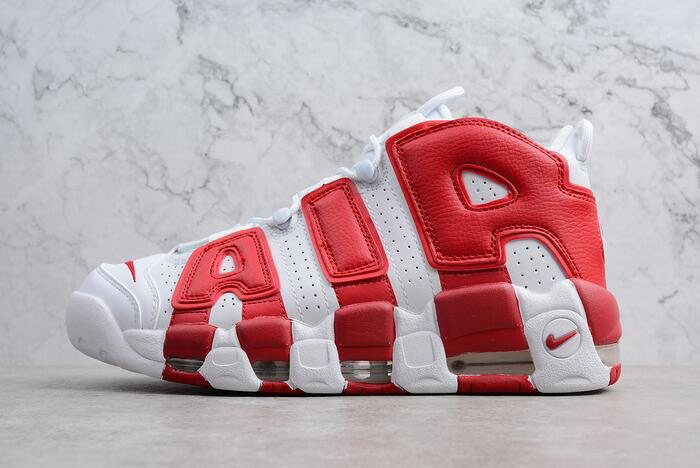 Men's and Women's Nike Air More Uptempo White/Gym Red 414962-100