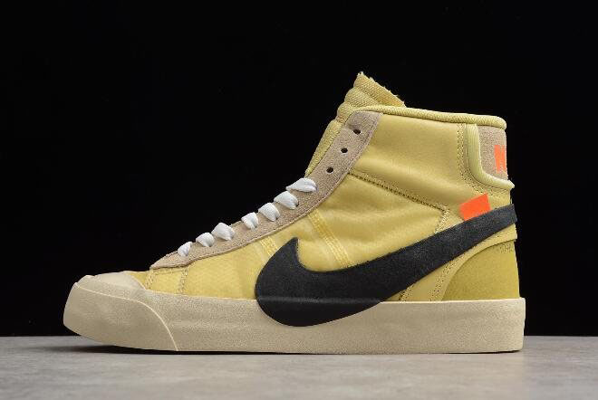 Off-White x Nike Blazer Studio Mid Canvas/Pale Vanilla-Black-Total Orange AA3832-700