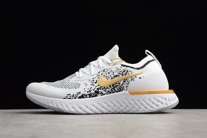 Men's Nike Epic React Flyknit White/Black-Gold AQ0067-071