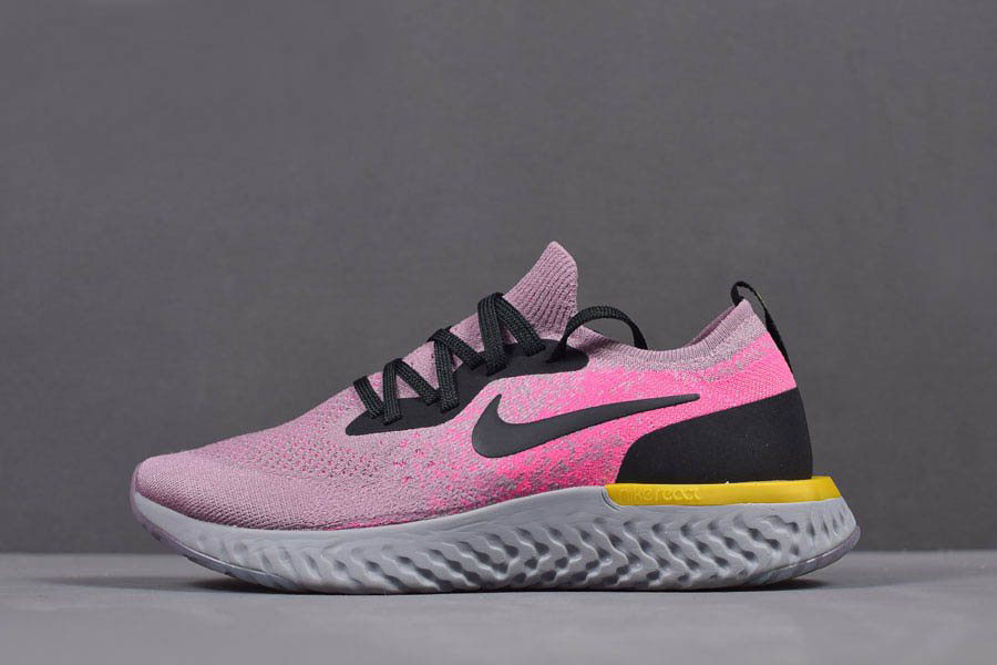 Women's Nike Epic React Flyknit Pink Yellow Black Grey Running Shoes AQ0070-500