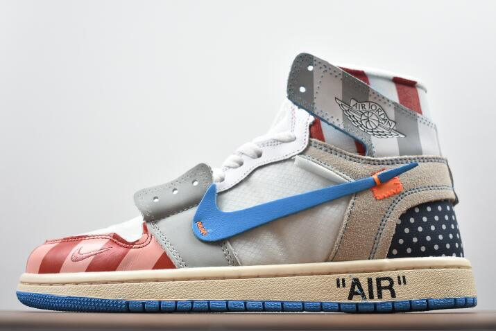 Parra x Off-White x Air Jordan 1 High Custom AA3834-108 For Sale