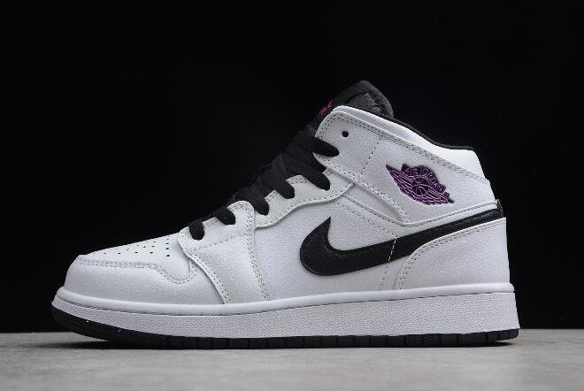 Air Jordan 1 Mid GS White/Black-Purple 555112-138