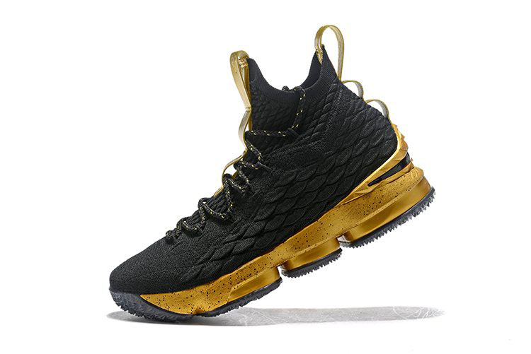 Men's Nike LeBron 15 Black Gold Basketball Shoes On Sale