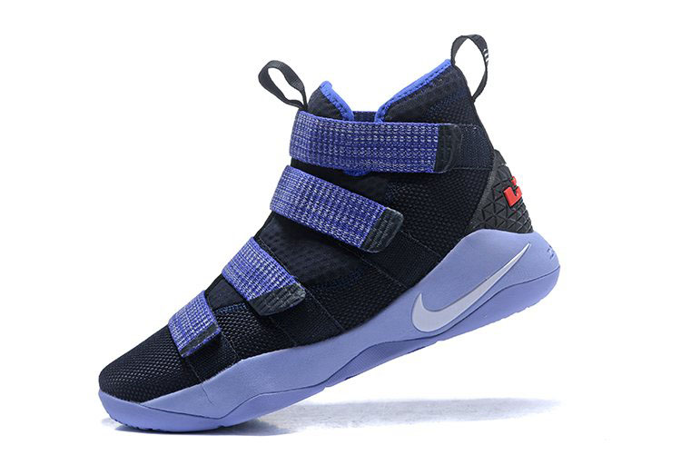Nike LeBron Soldier 11 Steel Black/Purple-Grey Free Shipping