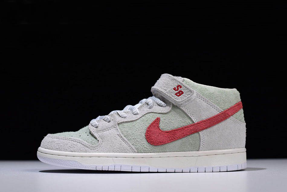 Men's Nike SB Dunk Mid White Widow Sail/Gym Red-Fresh Mint AQ2207-163