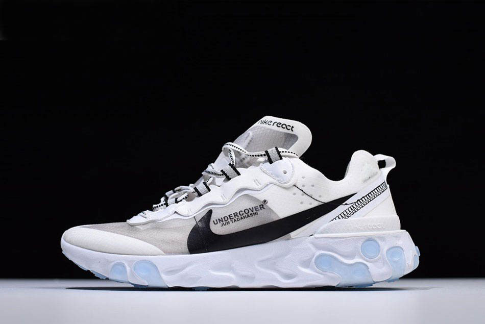 Undercover x Nike React Element 87 White Grey Black Shoes Free Shipping