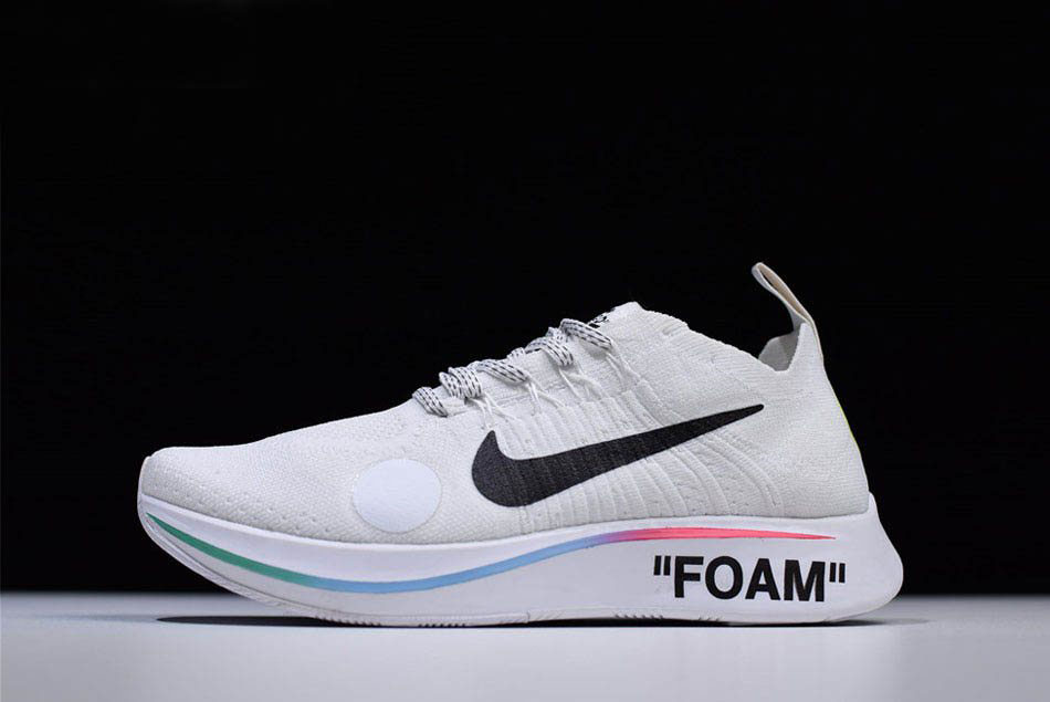 2018 Off-White x Nike Zoom Fly Mercurial Flyknit White Shoes Free Shipping
