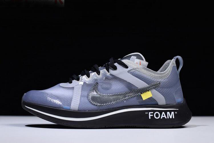 Mens and WMNS Off-White x Nike Zoom Fly SP Black/Grey-White Shoes