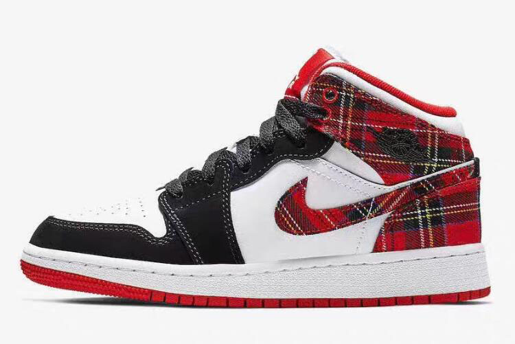 "Air Jordan 1 Mid GS ""White Plaid"" Habanero Red/Black-White 554725-607"