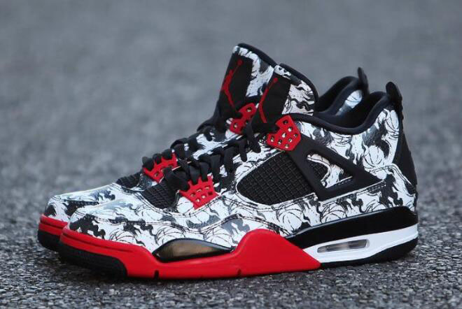 "Air Jordan 4 ""Tattoo"" Black/Fire Red-Black-White BQ0897-006"