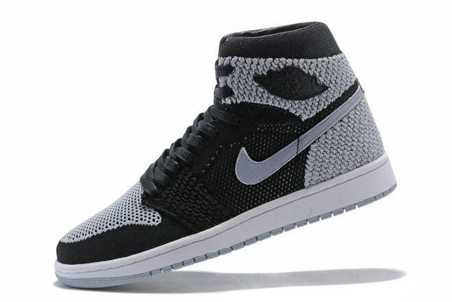 "Air Jordan 1 Retro High Flyknit ""Shadow"" Black/Medium Grey-White 919704-003"