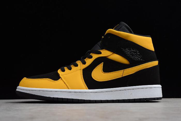"Mens Air Jordan 1 Mid ""Reverse New Love"" Black/University Gold-White 554724-071"