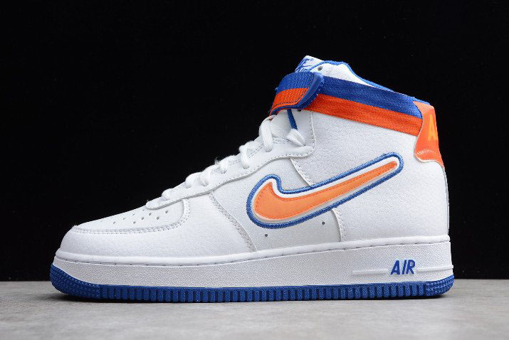 "2018 Nike Air Force 1 High Sport ""Knicks"" White/Team Orange-Game Royal AV3938-100"