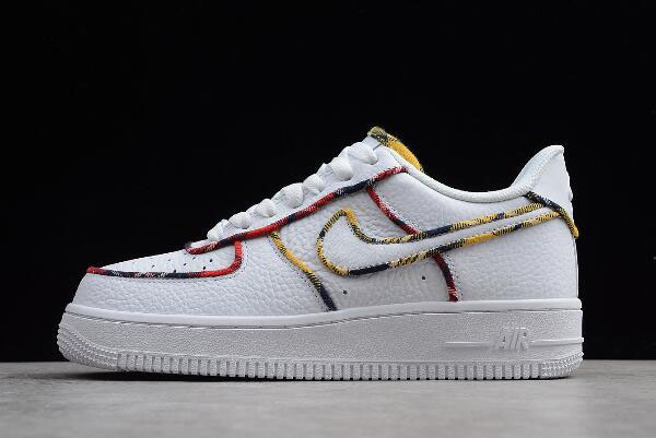 "Nike Air Force 1 Low ""Tartan"" White/University Red-Amarillo AV8218-100"
