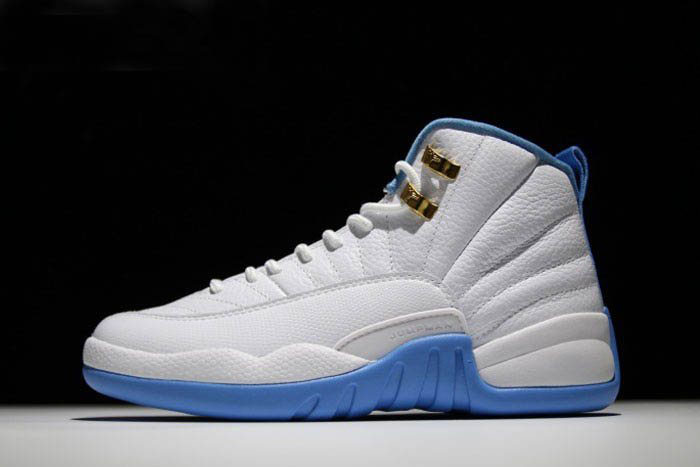 Men's and Women's Air Jordan 12 University Blue White/Metallic Gold-University Blue 510815-127