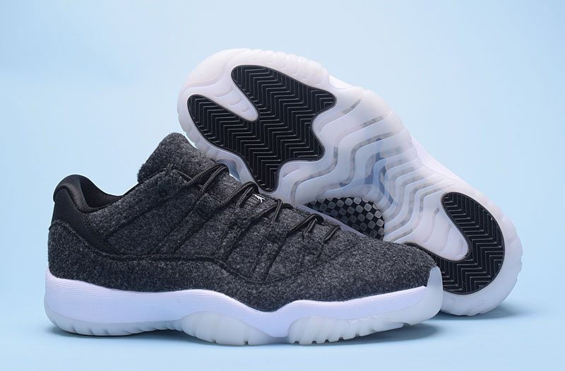 New Air Jordan 11 Low Wool Dark Grey/Metallic Silver-Black Basketball Shoes