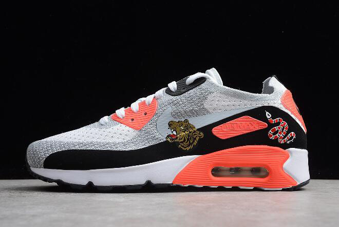 "Nike Air Max 90 Ultra 2.0 Flyknit ""Bright Crimson"" Infrared/White-Wolf Grey 875943-004"