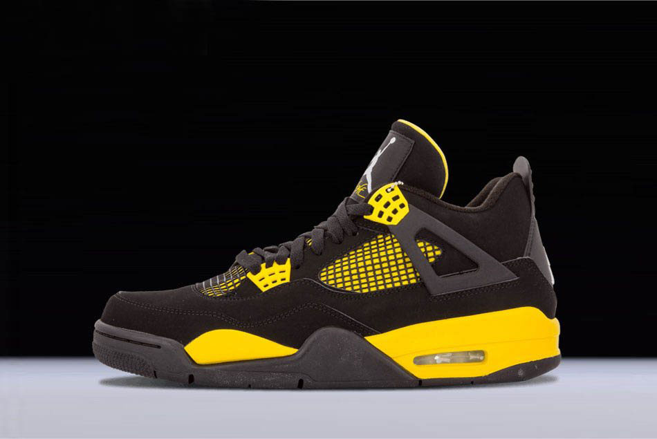 New Air Jordan 4 Retro Thunder Black/White-Tour Yellow 308497-008