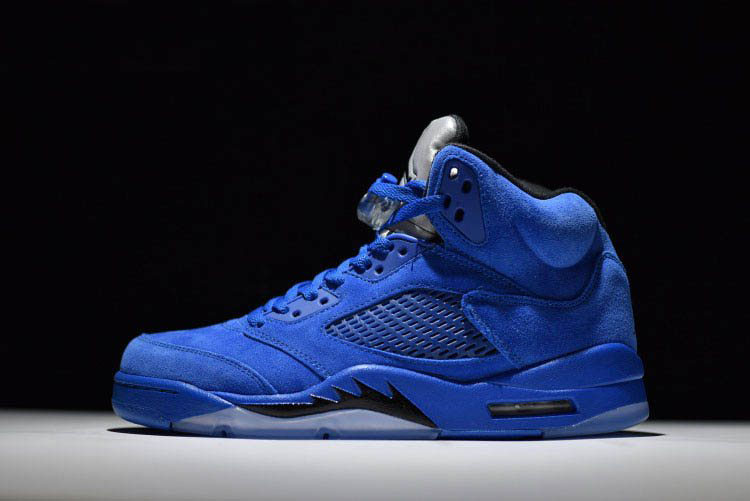 New Air Jordan 5 Retro Blue Suede Game Royal/Black 440888-401