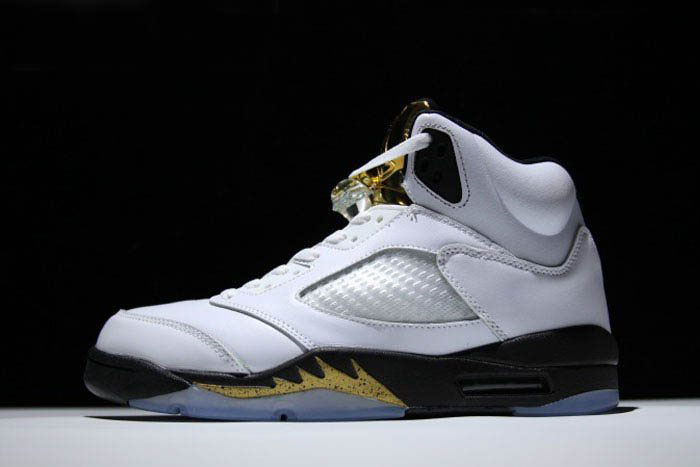 New Air Jordan 5 Retro Olympic White/Black-Metallic Gold Coin 136027-133