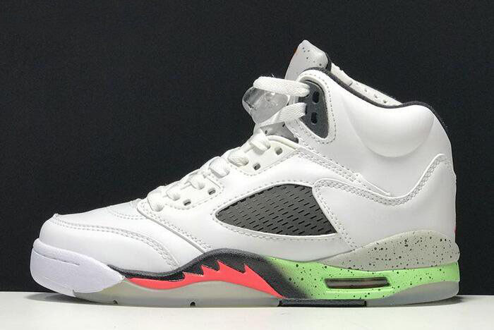 Air Jordan 5 Retro Poison Green White/Infrared 23-Light Poison Green-Black 136027-115