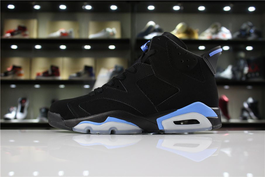 Men's and Women's Air Jordan 6 UNC Black/University Blue 384664-006 For Sale