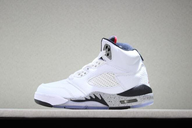 Kid's Air Jordan 5 Retro White Cement White/Black-Univeristy Red
