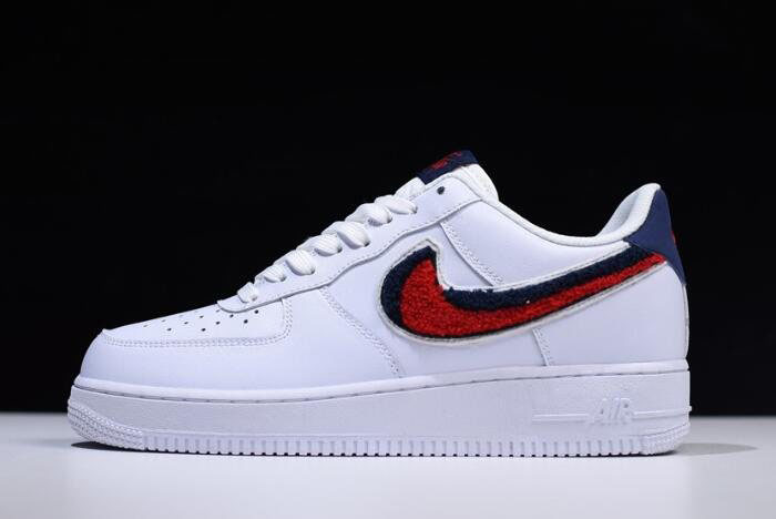 Nike Air Force 1 Low '07 LV8 Chenille Swoosh White/University Red-Blue Void 823511-106