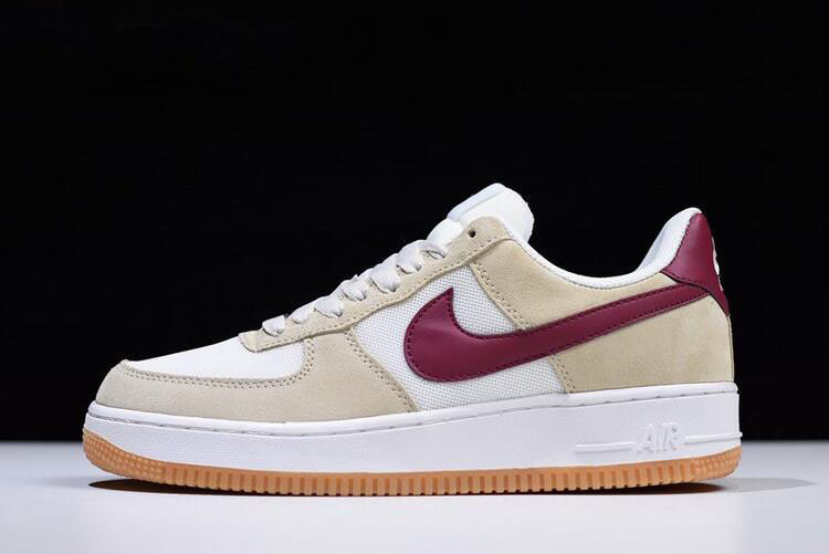 Nike Air Force 1 Low Suede Mushroom/White-Wine Red Men's Size 315111-100